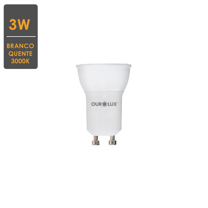 Lâmpada LED Mini Dicroica 3W 3000K 12V GU5.3 Branco Quente