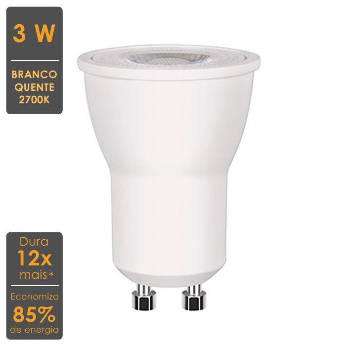 Lâmpada LED Mini Dicroica 3W GU10 2700K - Economiza 85% de Energia