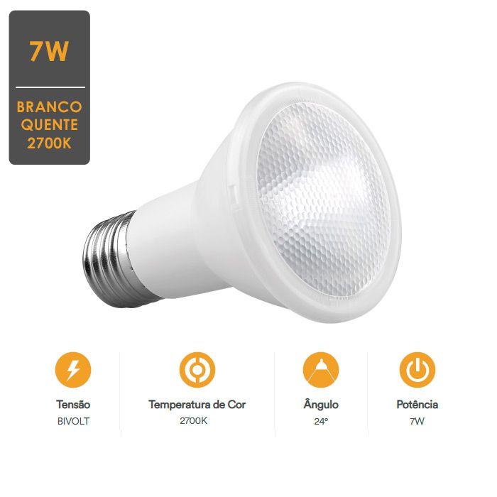 Lâmpada LED PAR20 7W 2700K Garantia de Qualidade