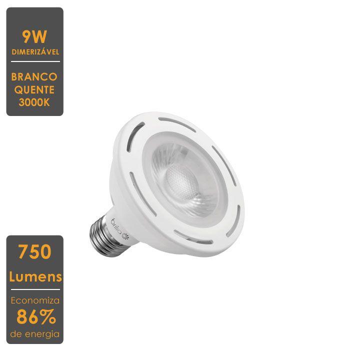 Lâmpada LED Par 30 Dimerizavel 9W 3000K - 86% de Economia