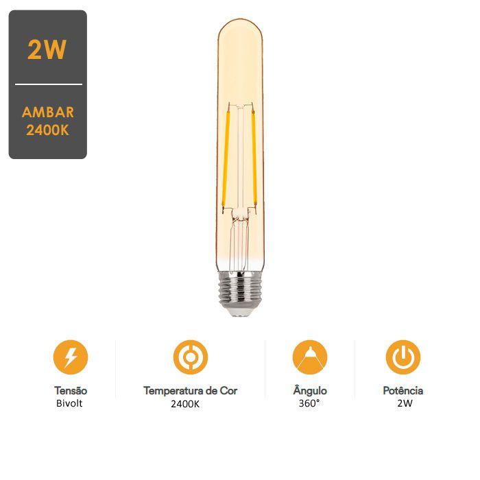 Lâmpada LED Tubo T30 Filamento Vintage 2W 2400K - Decoração