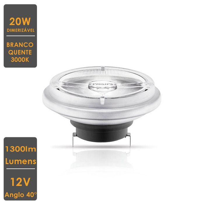 Lâmpada MASTER LED SPOT LV AR111 20W G53 3000K 12V 40° Dim.