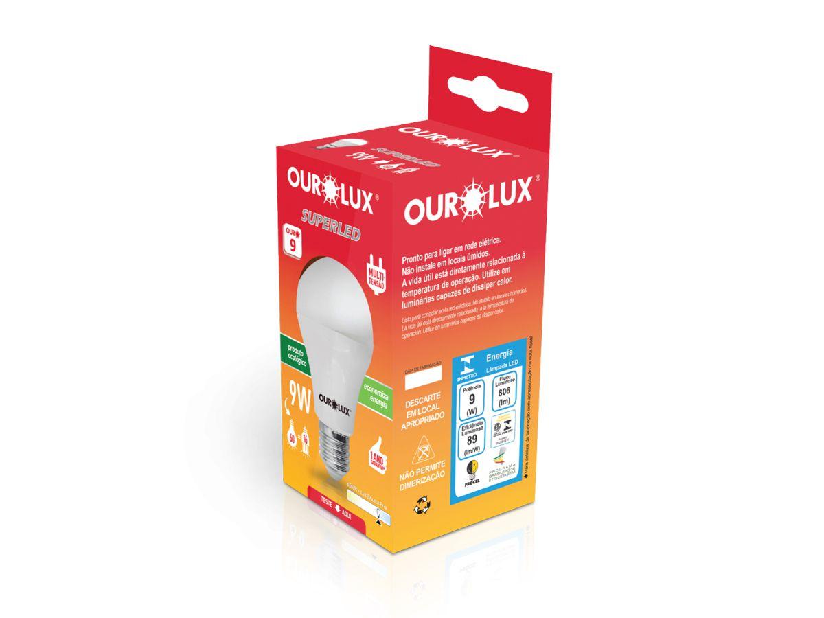 Lâmpada SuperLed 9W Bulbo Branco Frio E27 806lm Bivolt Ourolux