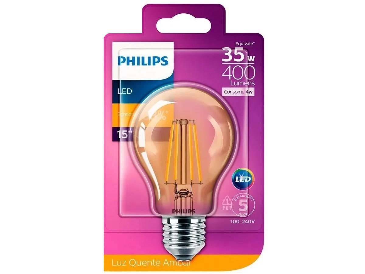 Lâmpada Filamento Led A60 4W 2500K 400lm Bivolt Equivale 35W - Philips