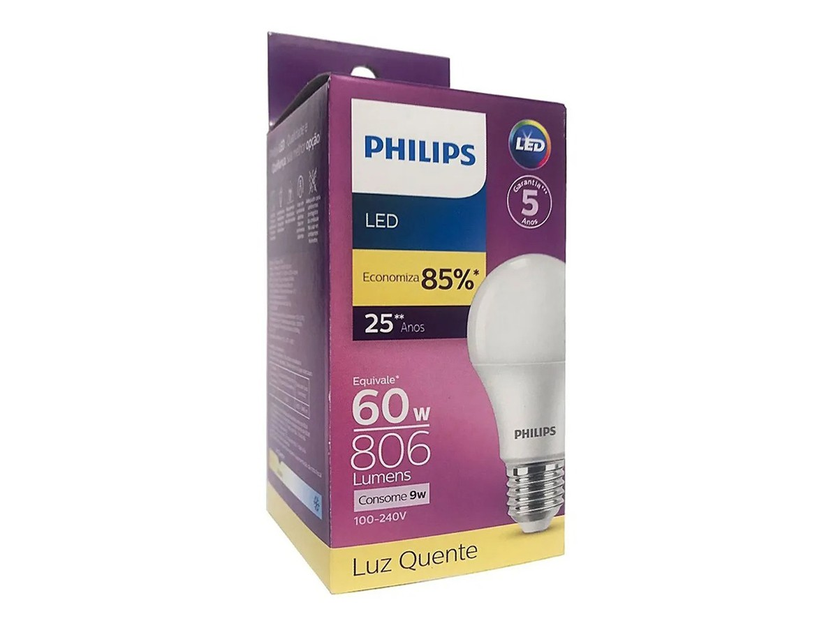 Lâmpada Led Bulbo A55 9W 806lm Bivolt Equivale 60W - Philips