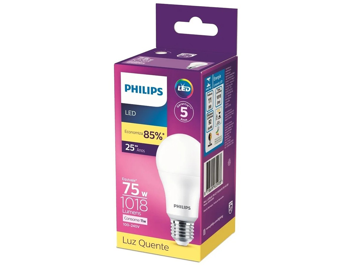 Lâmpada Led Bulbo A65 11W 1018lm Bivolt Equivale 75W - Philips