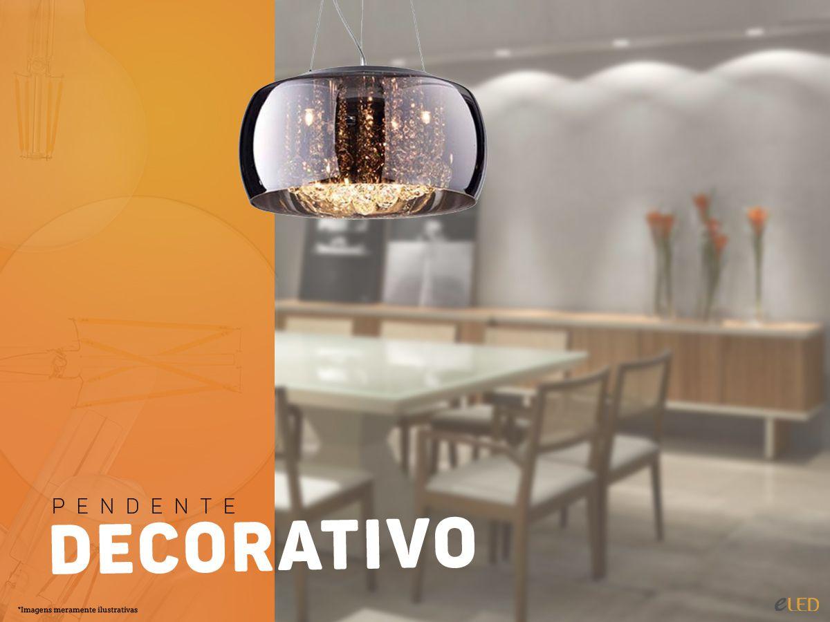 Lindo Pendente Decorativo 40cm x 20cm - Cromado / Transparente