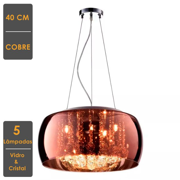 Lindo Pendente Decorativo 40cm x 20cm - Cobre / Transparente