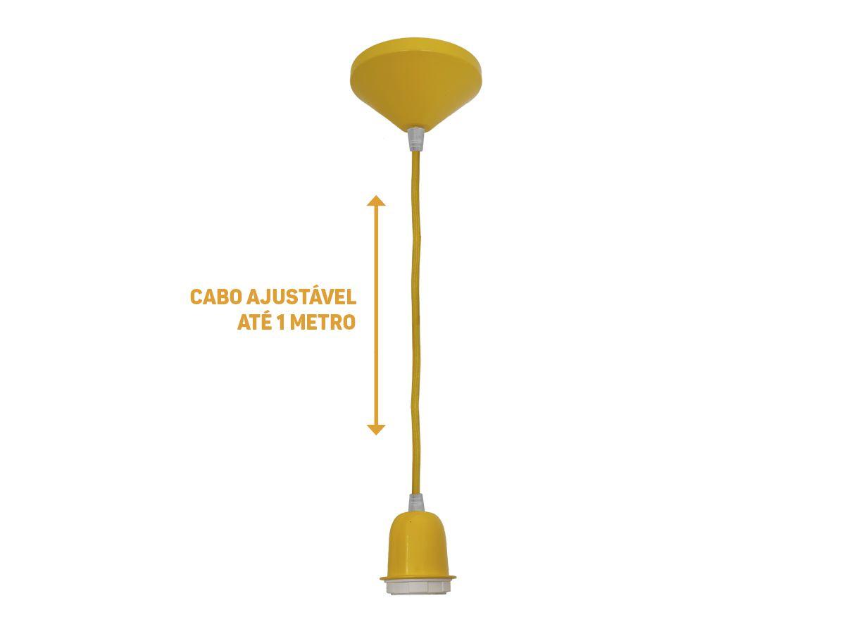 Luminária Decorativa Pendente Soquete Amarelo E27