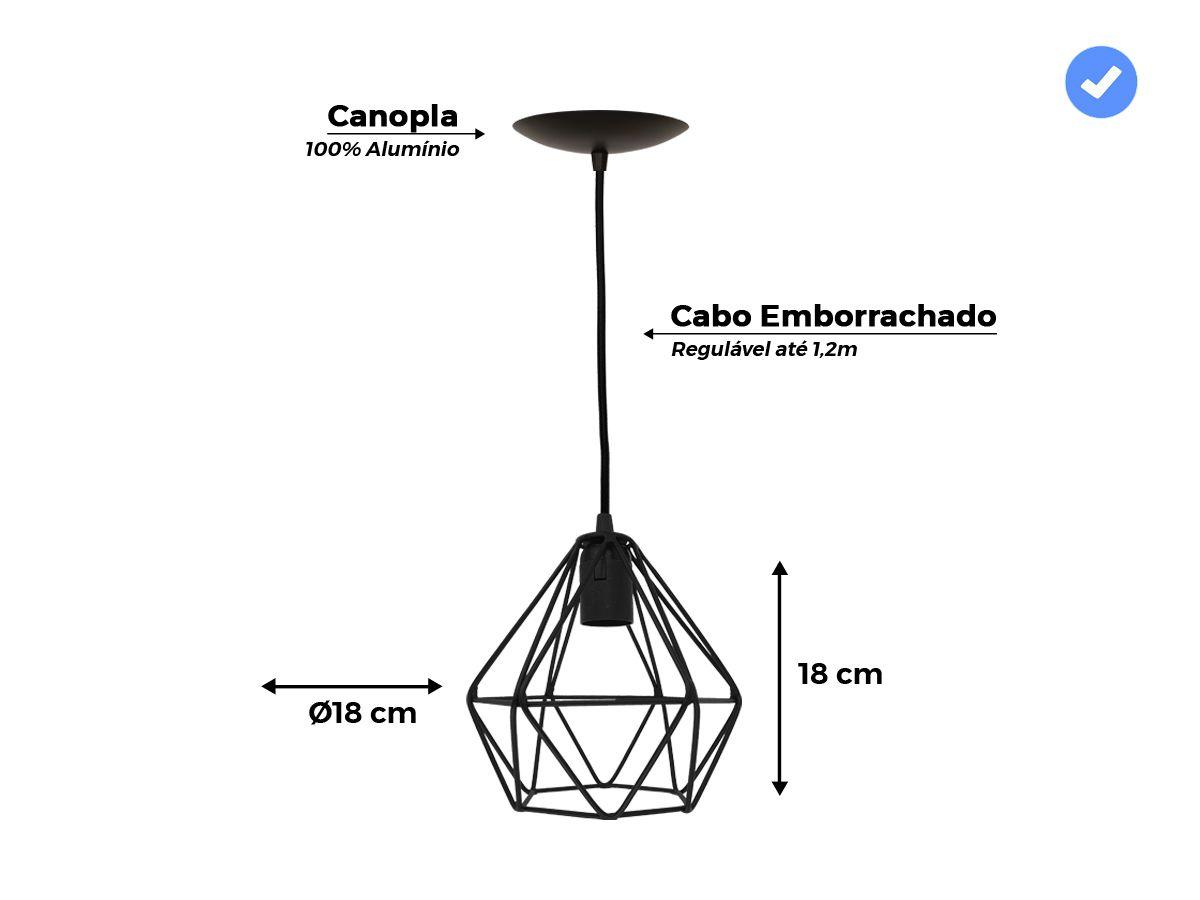 Luminária Pendente Aramado Diamante Preto