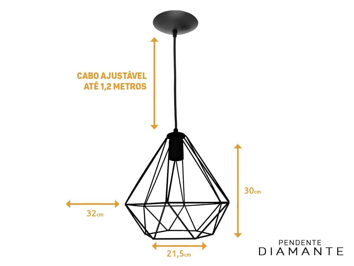 Luminária Pendente Aramado Diamante Preto Tam: G 32x30cm