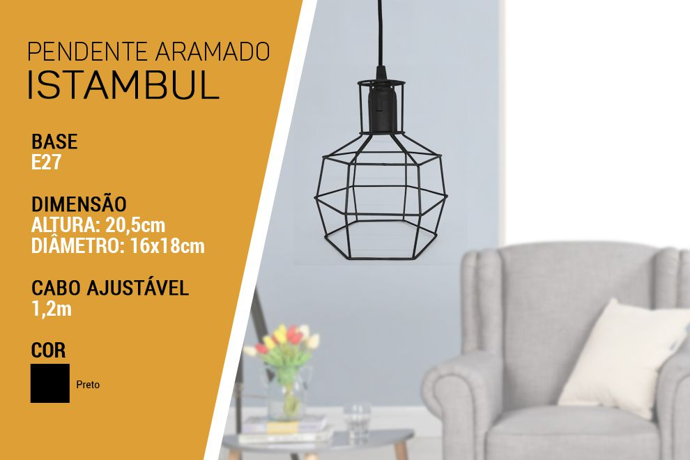 Luminária Pendente Aramado Istambul Preto