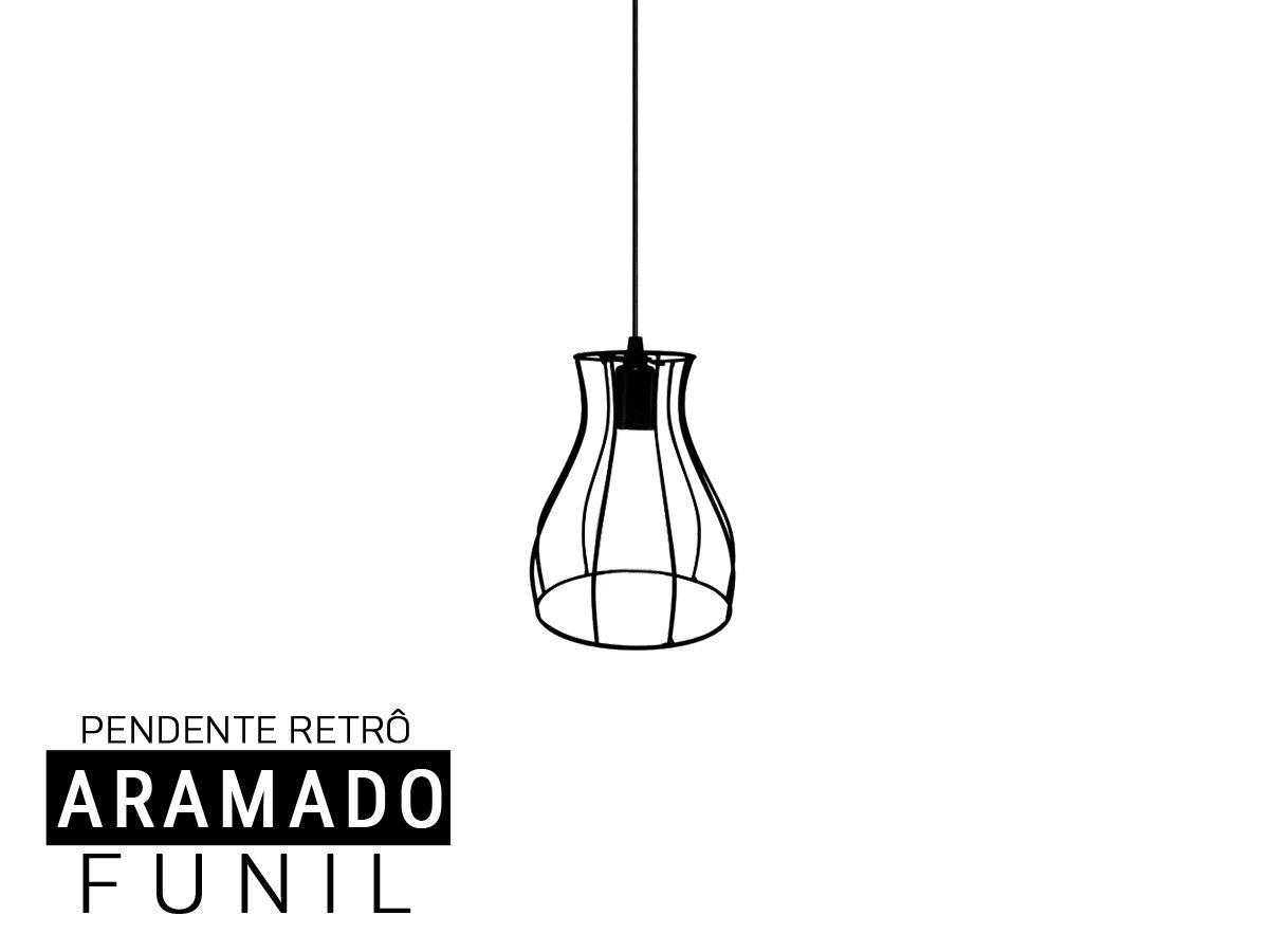 Luminária Pendente Aramado  Retro Funil
