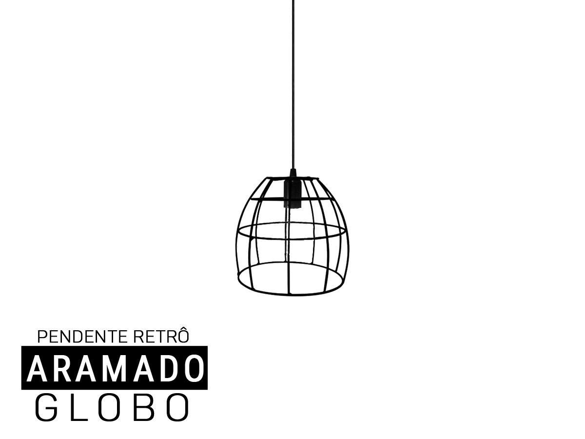 Luminária Pendente Aramado  Retro Globo -Preto