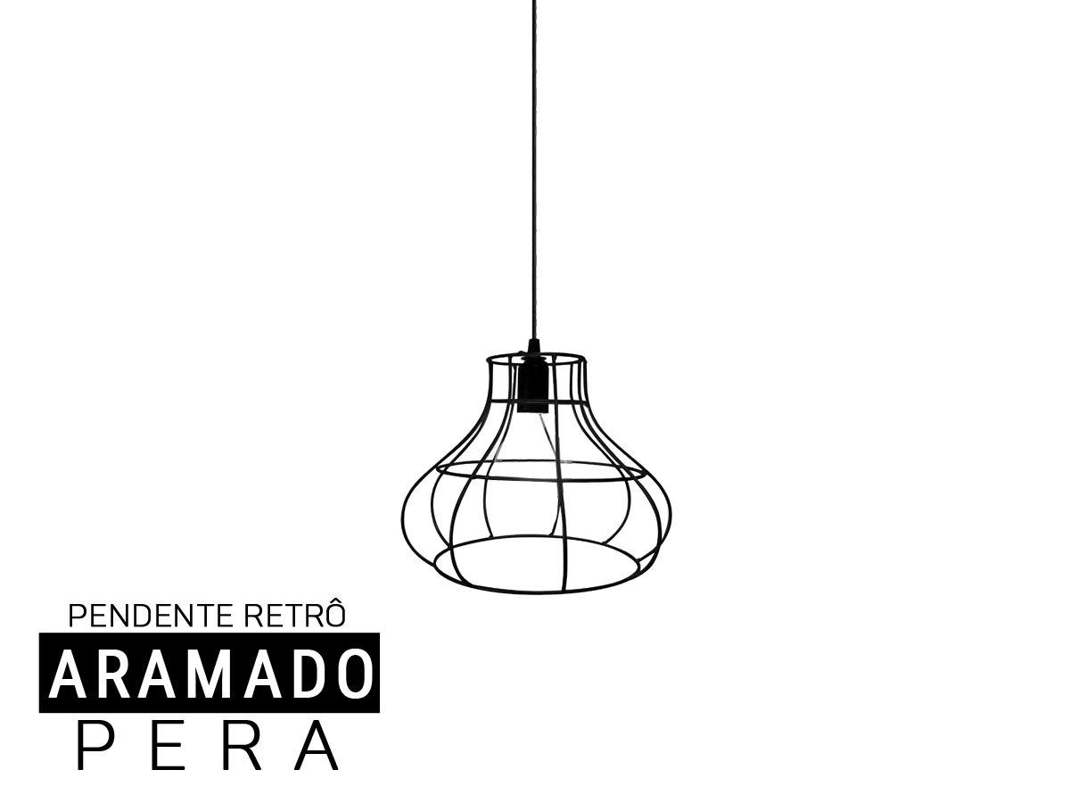 Luminária Pendente Aramado  Retro Pera -Preto