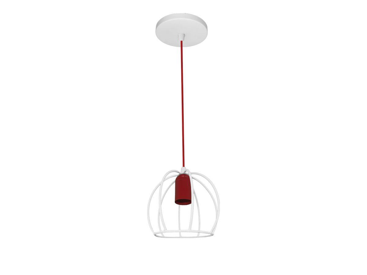 Luminária Pendente Decorativo Aramado Branco / Vermelho