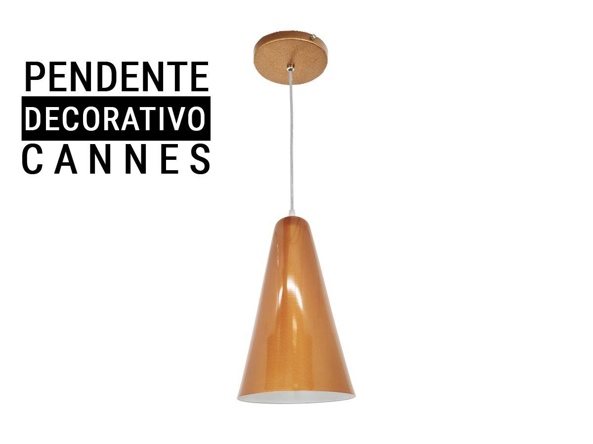 Luminária Pendente Decorativo Cannes Médio - Cobre / Branco