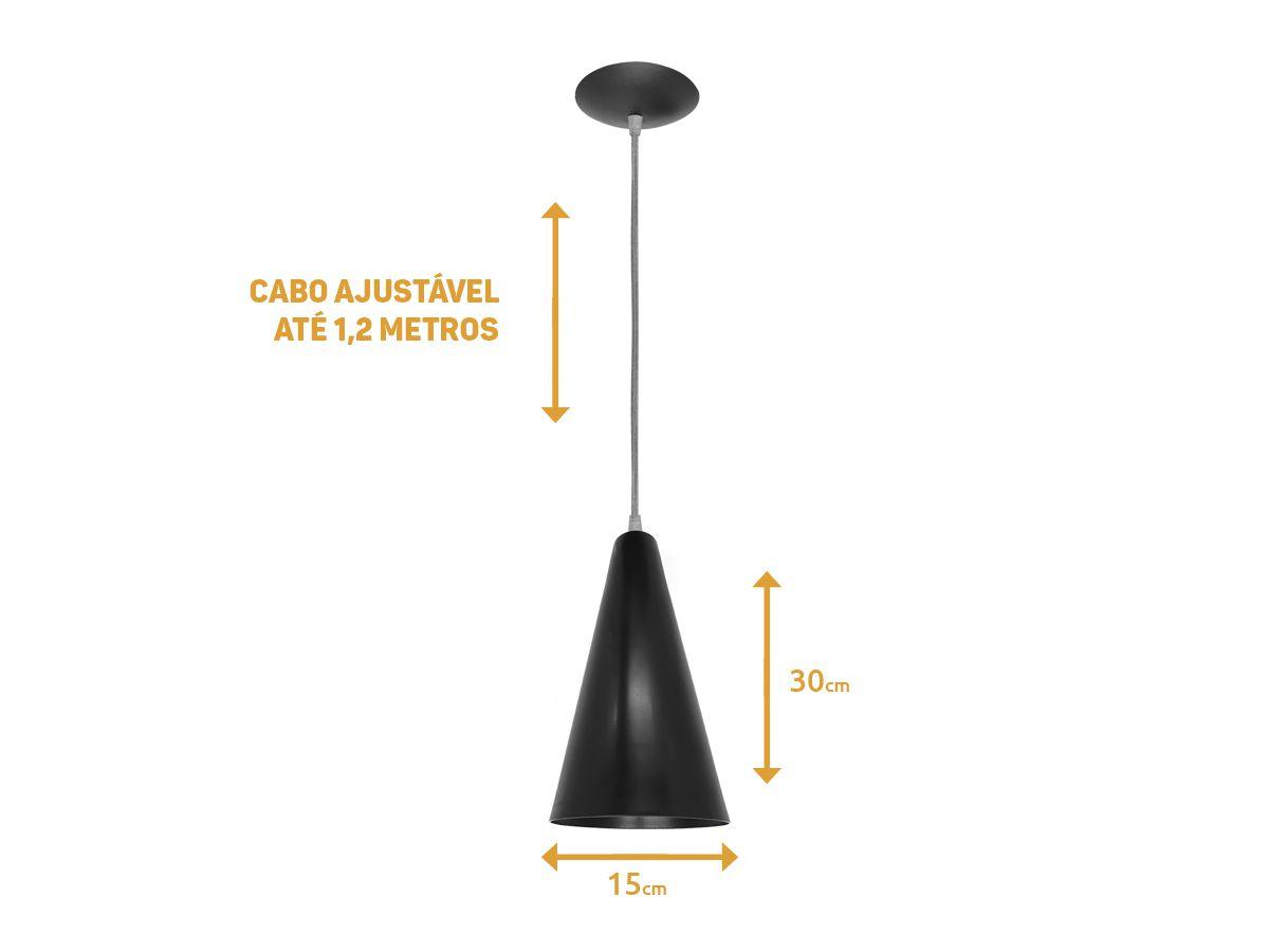 Luminária Pendente Decorativo Cannes Grande - Preto