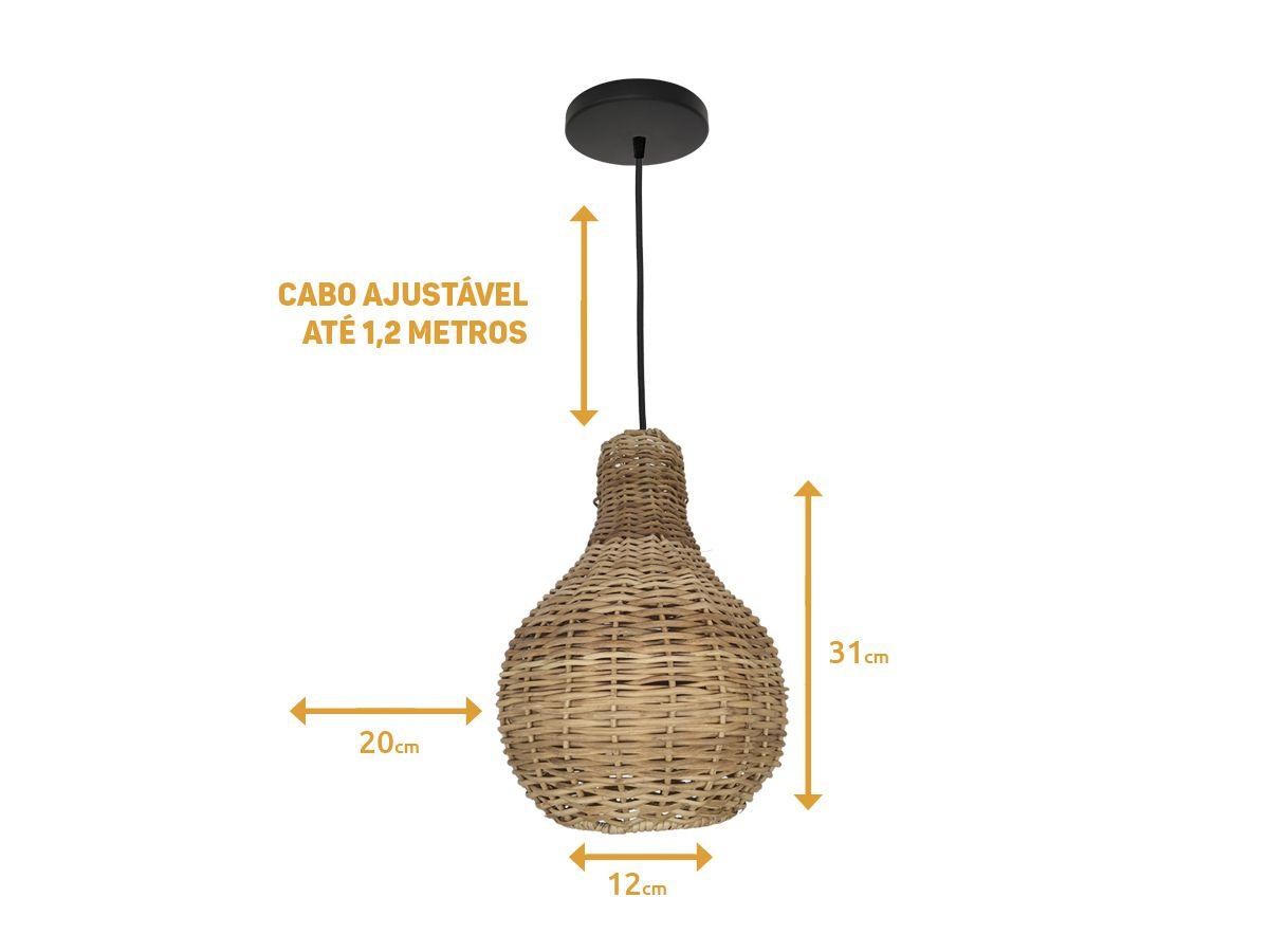 Luminária Pendente Decorativo em Junco - E27 Bivolt