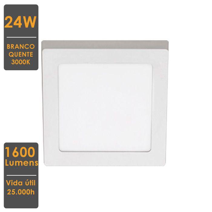Painel LED de Sobrepor 24W 3000K 30X30cm Bivolt - Stella