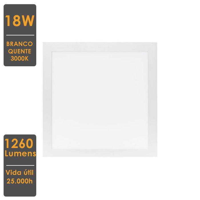 Painel LED de Embutir Quadrado 18W 3000K Bivolt 22,x22,cm