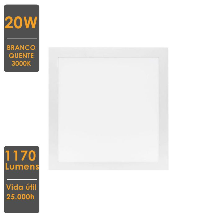 Painel LED de Embutir Quadrado 20W 3000K Bivolt 22,5x22,5cm