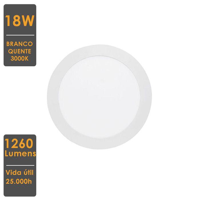 Painel LED de Embutir Redondo 18W 4000K Bivolt 22,x22cm