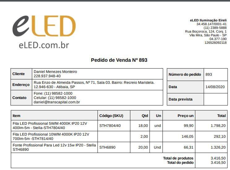 Pedido de Venda Nº 893 - Daniel Monteiro