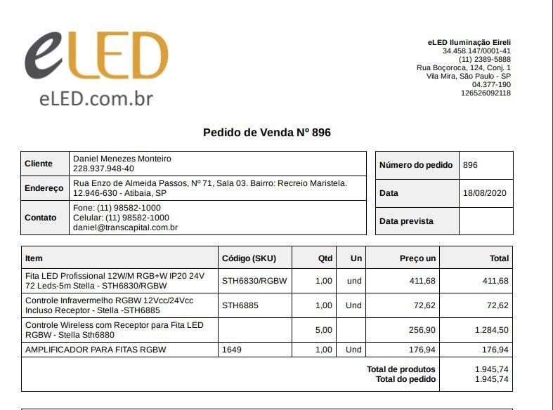 Pedido de Venda Nº 896 - Daniel Monteiro