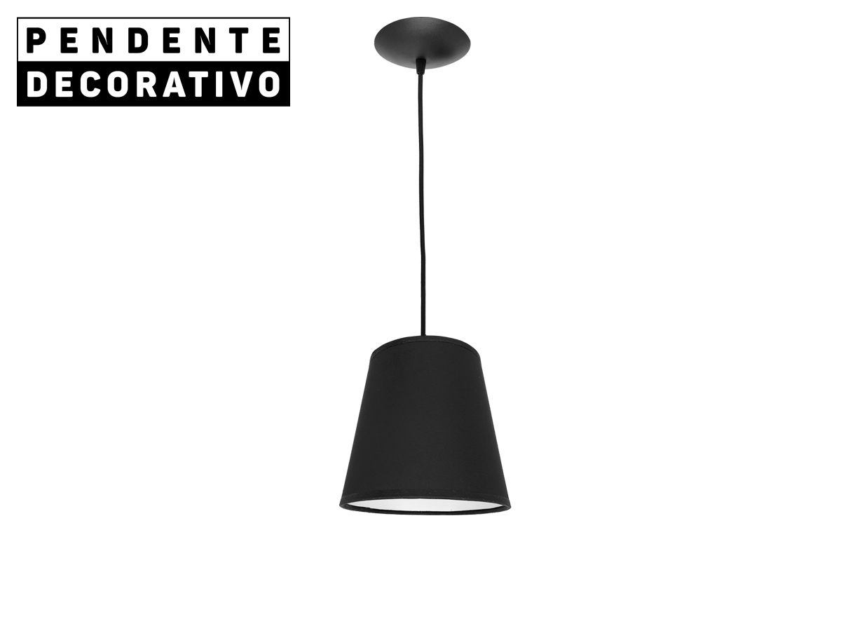 Pendente Decorativo Luminária Cúpula Acetato Linho Preto