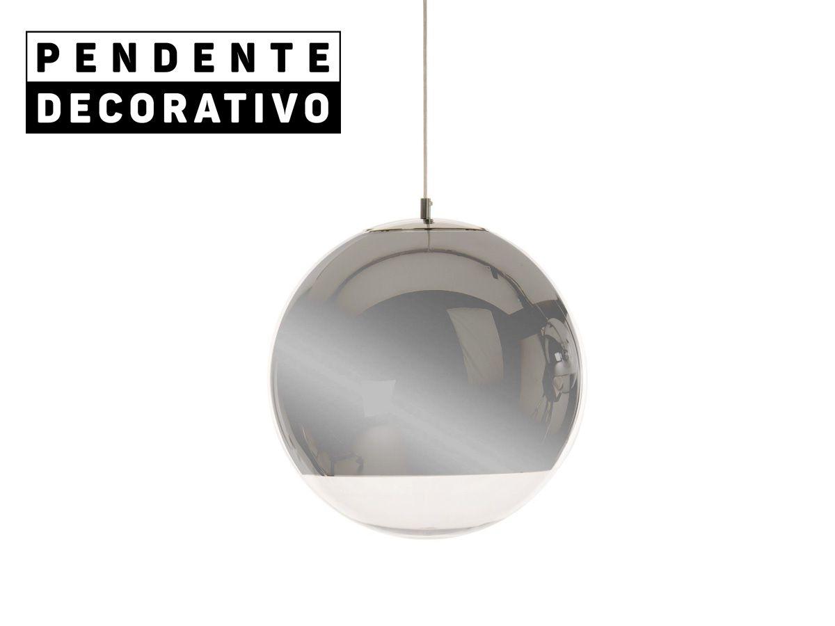 Pendente Decorativo Lustre Globo Espelhado Cromado 30X30cm