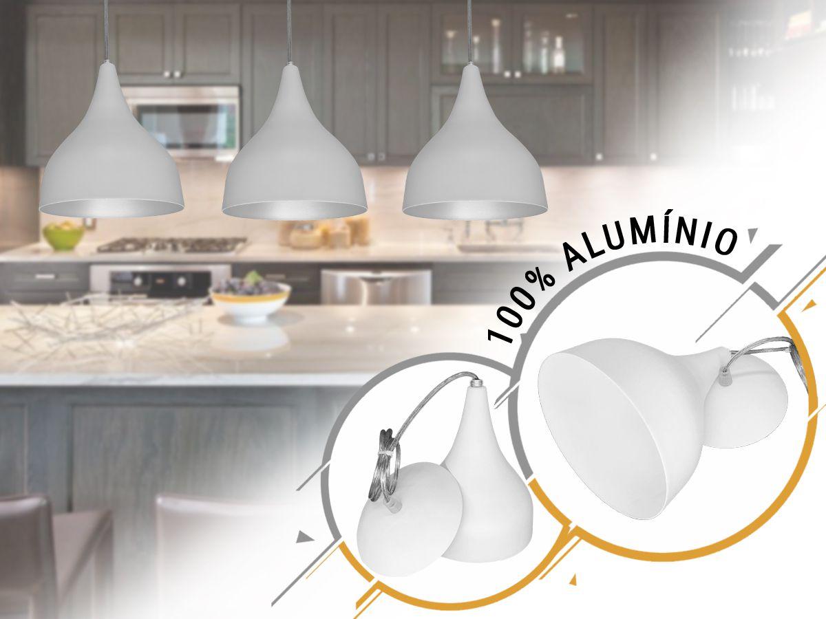 Pendente Funil  Pequeno 100% Alumínio Branco/Branco - Alta Qualidade