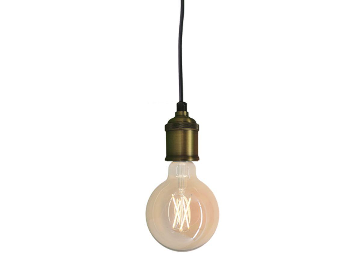 Pendente Soquete Retro Vintage E27  Dourado + Lâmpada Filamento LED