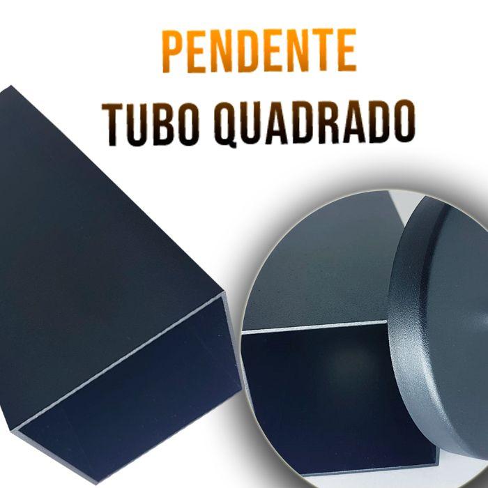 Pendente Tubo Quadrado para Bancada Cozinha+ Lâmpada Brinde