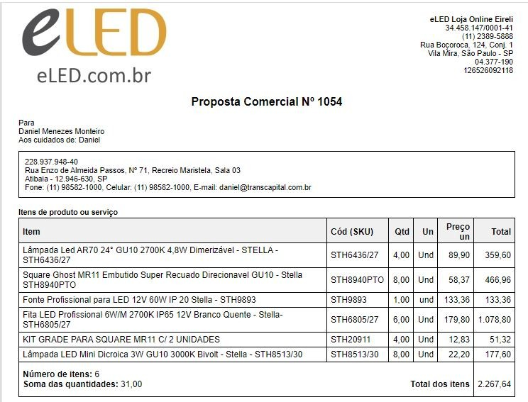 Proposta Comercial Nº 1054 - Daniel Menezes Monteiro
