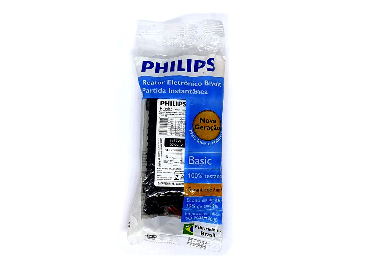 Reator Eletrônico Partida Instantânea 1x32W Bivolt - Philips