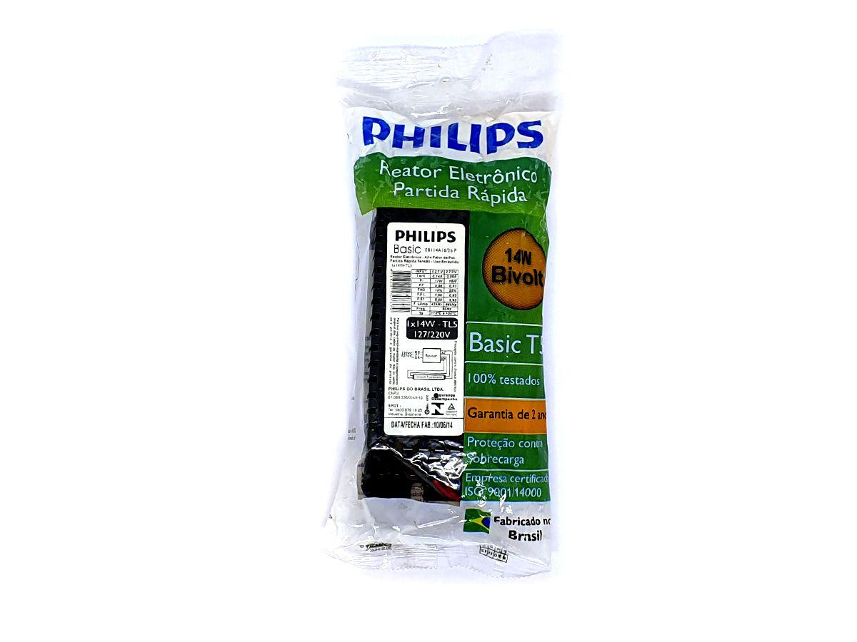Reator Eletrônico Partida Rápida 1x14W Bivolt TL5 - Philips