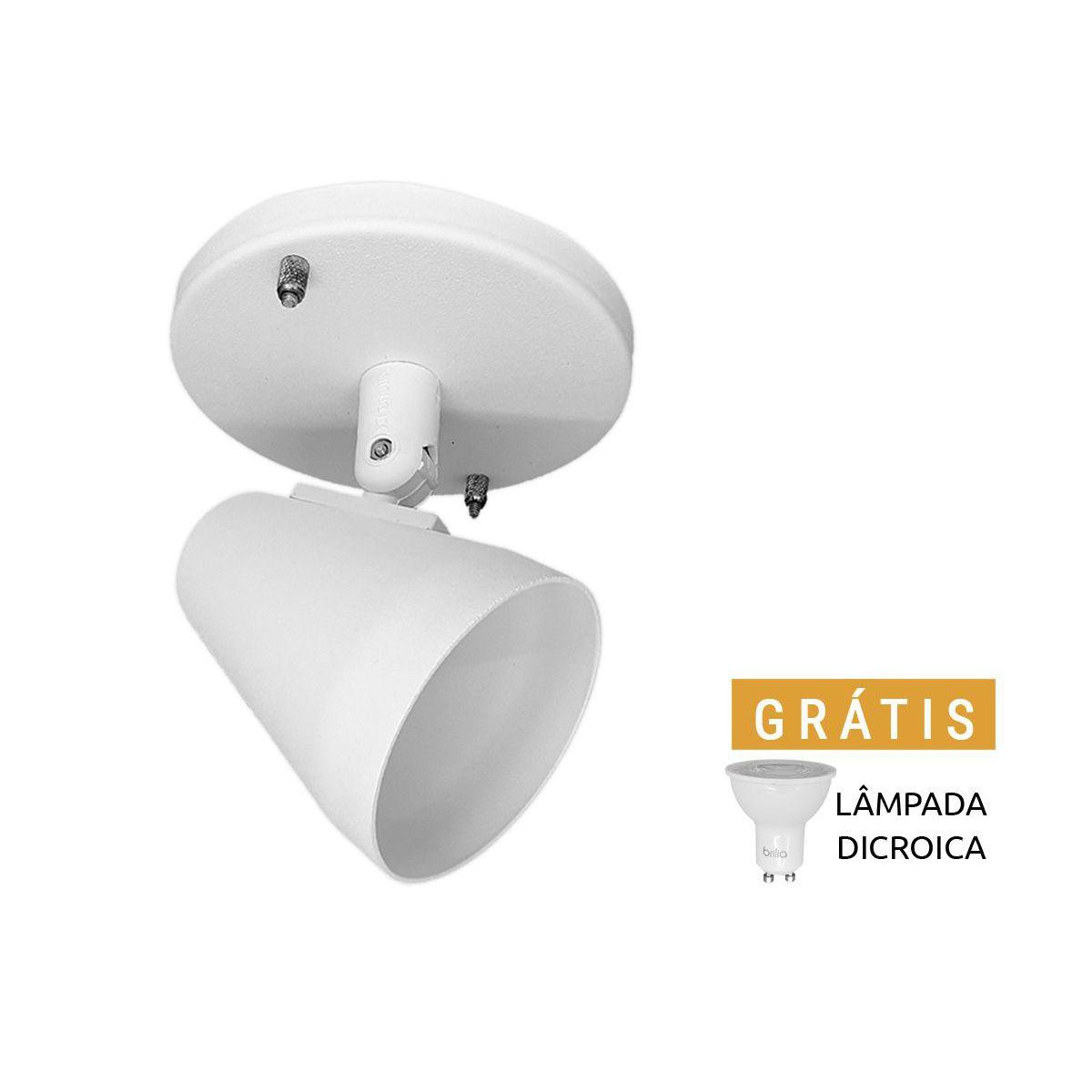 Spot Alumínio GU10 Branco Lâmpada Dicroica LED