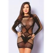 Mini Vestido Sensual Detalhe Arrastão - Yaffa