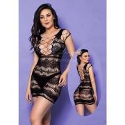 Mini Vestido Trama Vazada - Yaffa