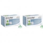 Accu-Fine 4mm 2 CAIXAS com 100 agulhas para aplicação de insulina