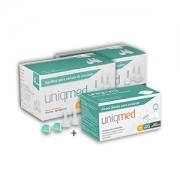 Agulhas Caneta de Insulina UNIQMED 4mm com 100 Unidades PROMOPACK C/ 2 CAIXAS + 1 CX de Álcool Swabs GRÁTIS