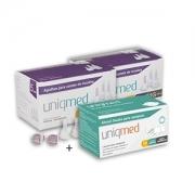 Agulhas Caneta de Insulina UNIQMED 5mm c/ 100 Unidades - PROMOPACK C/ 2 CAIXAS + 1 CX de Álcool Swabs GRÁTIS