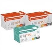 Agulhas Caneta de Insulina UNIQMED 6mm c/ 100 Unidades - PROMOPACK C/ 2 CAIXAS + 1 CX de Álcool Swabs GRÁTIS