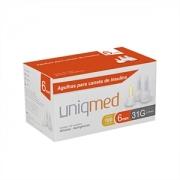 Agulhas para Caneta de Insulina UNIQMED 6mm com 100 Unidades (antiga Testfine) Compatível com Todas as Canetas Disponíveis no Mercado