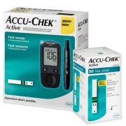 Kit Accu-Chek Active (kit com 1 monitor, 1 lancetador, 10 lancetas, 10 tiras e estojo) + 50 tiras
