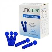 Lancetas Uniqmed 28g c/ 100 unidades (compatível com todos lancetadores menos linha Accu Chek)