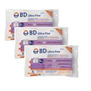 Seringa para Insulina BD Ultrafine 0,3mL (30UI) Agulha 6x0,25mm 31G - KIT com 30 seringas