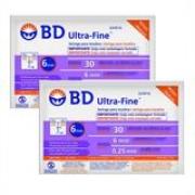 Seringa para Insulina BD Ultrafine 0,3mL (30UI) Agulha 6x0,25mm 31G - LEVE 2 PACOTES