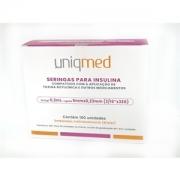 Seringa para Insulina Uniqmed 0,3mL (30UI) Agulha 5x0,23mm 32G - Caixa com 100 seringas embaladas individualmente
